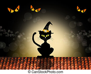 Black cat cartoon - illustration of black cat cartoon