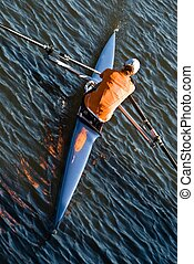 Rowing boat - Isolated single rowing boat photographed from...
