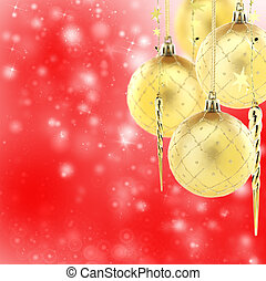 Gold Christmas tree decorations.