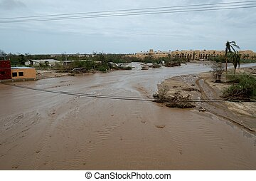 Dirty rain water in the way to hotel In Cabo san Lucas