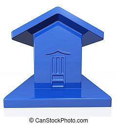 Blue Plastic Model of a House - A tiny plastic model of a...