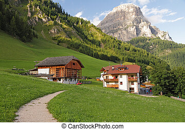 footpath in picturesque alpine village Colfosco Ladin:...