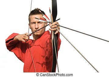 Perfect aiming - Young archer concentrating and aiming,...