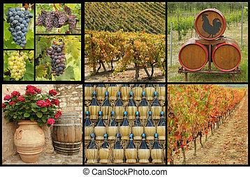 toscano, vino, collage