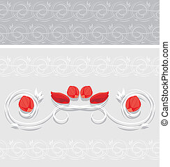 Ornamental border with rose petals for greeting card. Vector...