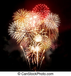 Beautiful Golden Fireworks Display - A large golden...
