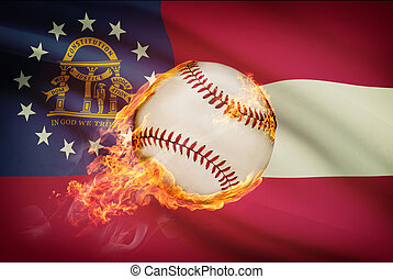Baseball ball with flag on background series - Georgia