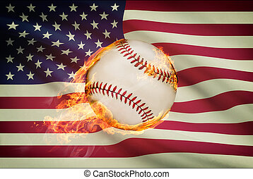 Baseball ball with flag on background series - USA - United...