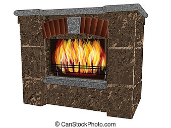 fireplace isolated on a white background. 10 EPS