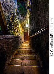 Staircase in an ancient castle of Predjama, Slovenia