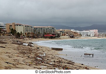 Damaged by hurricane Odile Medano beach front houses with...