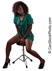 African American Woman Sitting Short Dress - Attractive...