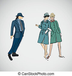 Vector sketch girls and man in fashion clothes.