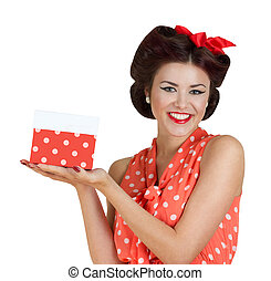 Pin p girl holding a gift box - Portrait of beautiful...