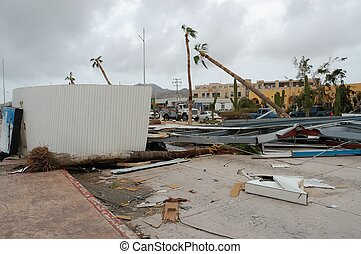 Broken building. Hurricane Odile blow away it's roof to the...