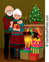 An elderly couple in the fireplace - Vector illustration of...