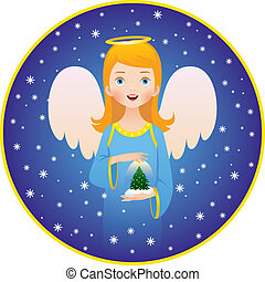 "Angel Christmas holidays - Vector illustration of the ""Angel..."