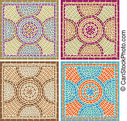 Antique mosaics - Seamless texture with multicolored mosaics...