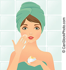 Beautician - Illustration of a young woman and Skin Care