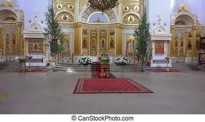 The interior of an orthodox church. Shot in 4K (ultra-high...
