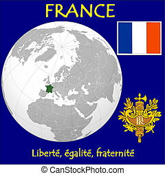 France motto location flag coat