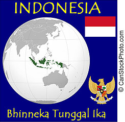 Indonesia motto location flag coat