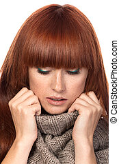 Young red-haired woman portrait - Young red-haired woman...