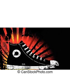Sneaker Silhouette with Yellow and Orange grunge background