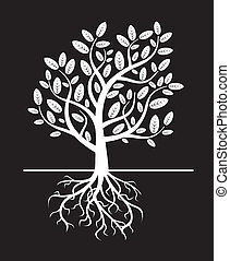 black vector tree and roots