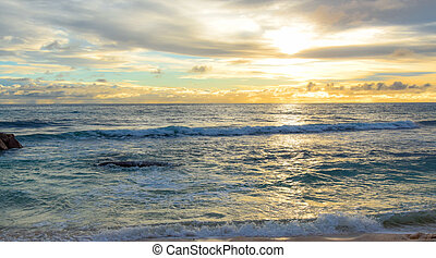 Early sunset. - Early sunset at the sea. Seyshelles. Praslin...