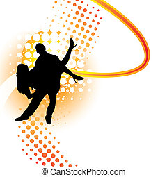 Dancers silhouette on orange halftone background