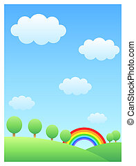 rainbow & hill - blue sky with cloud,a row of trees on the...