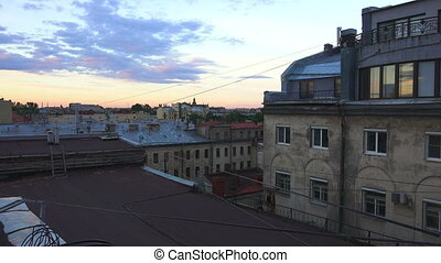 Petersburg. View from the roof. Old yard-a well. -...