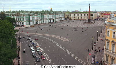 Petersburg. View from the roof. The Palace square. The...