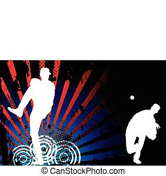 Baseball American - Baseballer Silhouette with United States...