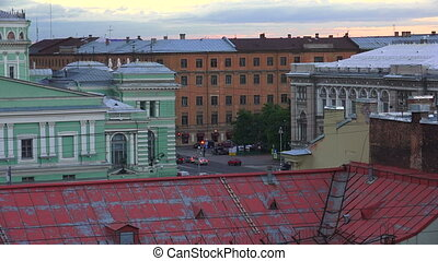 Petersburg. View from the roof. The Centre Of The City. Shot...