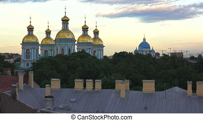 Petersburg View from the roof Church, temple, domes -...