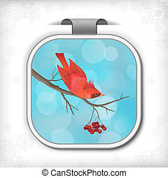 Winter Christmas Sticker Bird Rowan Tree Branch - Winter...