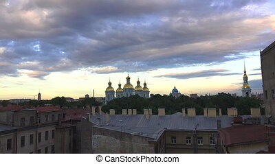 Petersburg. View from the roof. Church, temple, domes. 4K. -...
