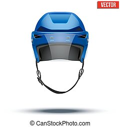 Classic blue Ice Hockey Helmet with glass visor isolated on...