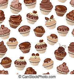 Seamless pattern with chocolate cupcakes - Seamless pattern...