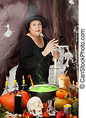 old witch with a broom - old beautiful witch with hat and...