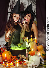 two witches brew potion - two beautiful witches brew the...