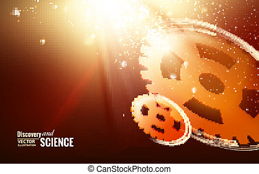 Gear-wheels over lights rays with dark background. Vector...