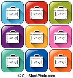 Buttons with a holiday bag - Illustration of the buttons...