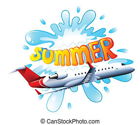 Summer - Illustration of an airplane flying