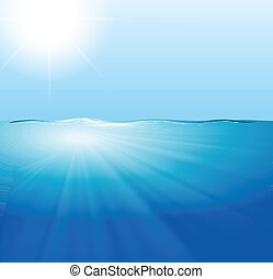 Water - Illustration of a view of an ocean