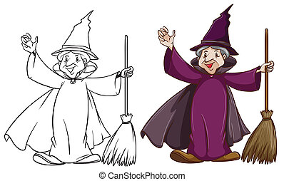 Witch - Illustration of a witch with a broom