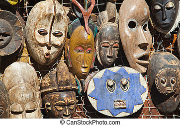 African masks for sell - Traditional african masks hanging...