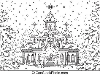 Santa Claus house - Father Christmas standing near his big...